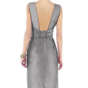Alfred Sung Quarry Open Back Bow Crepe Bridesmaid